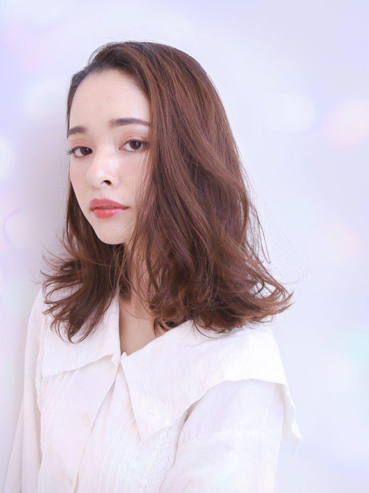 大人フェミニン☆くせ毛風無造作ミディアム×暗髪アッシュ2 -武蔵小杉 美容室MOONヘアースタイル写真