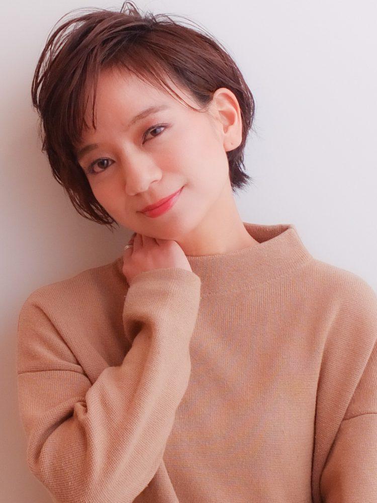 大人かわいい小顔ひし形ショートボブ30代40代50代1 -武蔵小杉 美容室MOONヘアースタイル写真