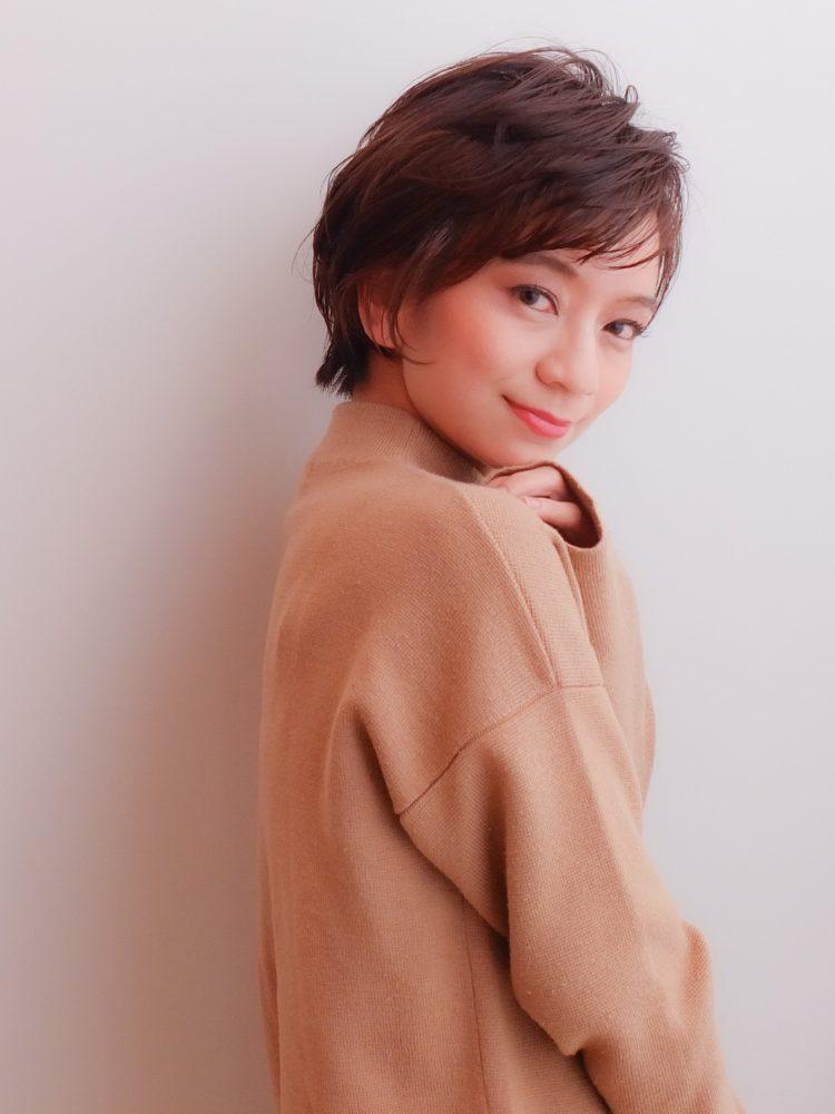大人かわいい小顔ひし形ショートボブ30代40代50代3 -武蔵小杉 美容室MOONヘアースタイル写真