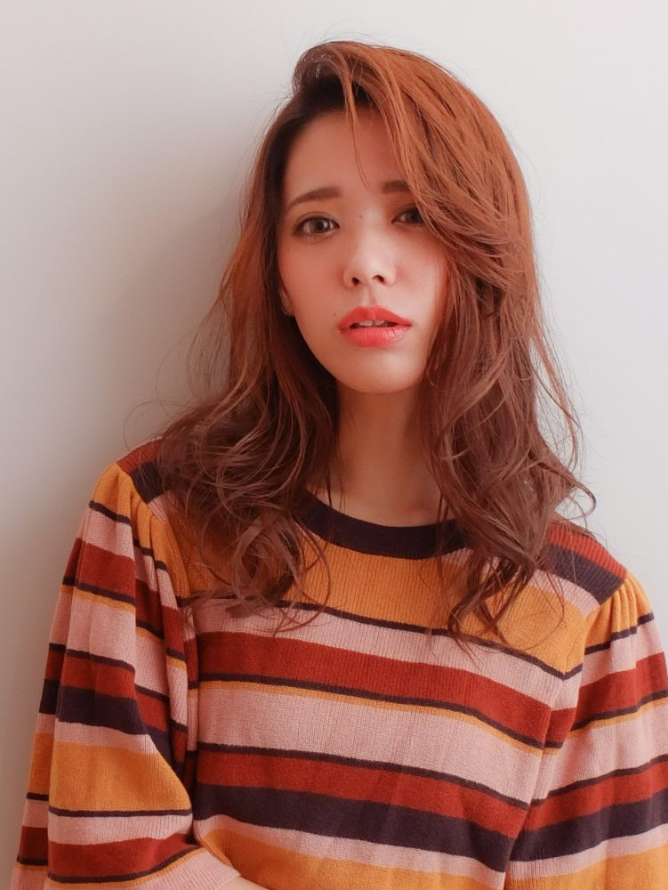 大人かわいいゆるふわ愛され髪◎オレンジベージュ♪武蔵小杉 美容室MOONヘアースタイル写真